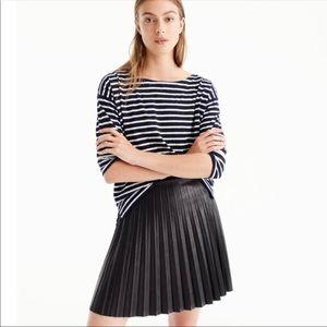 J. Crew Faux Leather Pleated Miniskirt